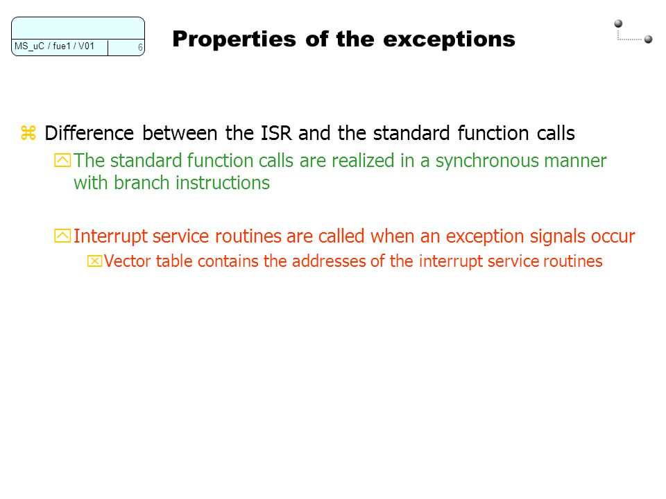 Properties of the exceptions