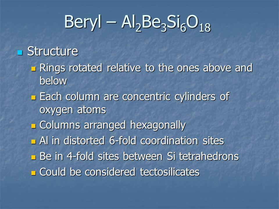 Beryl – Al2Be3Si6O18 Structure