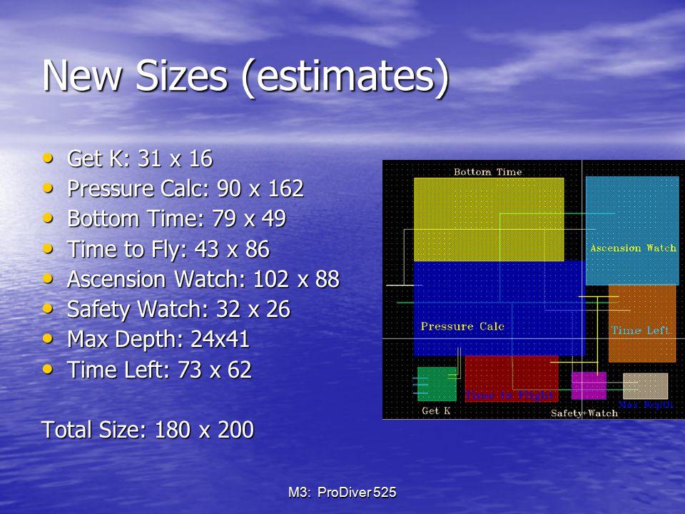 New Sizes (estimates) Get K: 31 x 16 Pressure Calc: 90 x 162