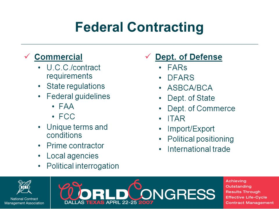 Federal Contracting Commercial Dept. of Defense