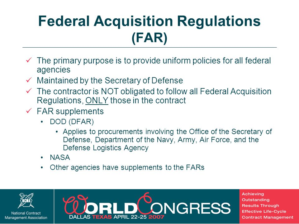 Federal Acquisition Regulations (FAR)