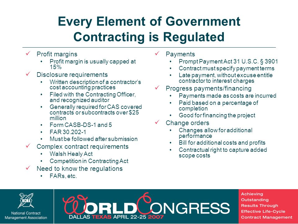 Every Element of Government Contracting is Regulated