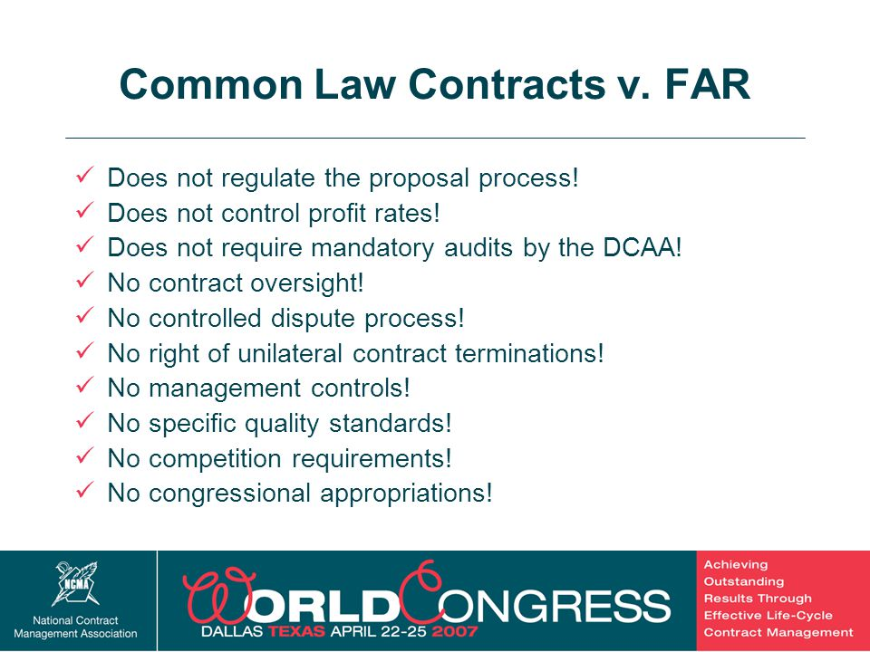 Common Law Contracts v. FAR
