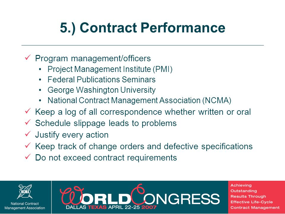 5.) Contract Performance