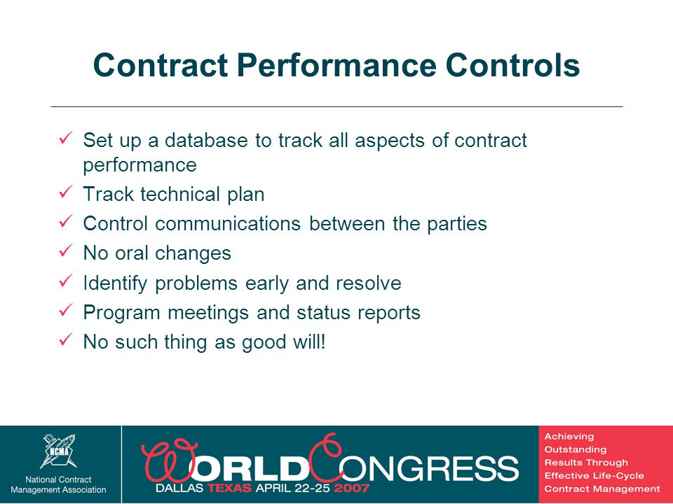 Contract Performance Controls