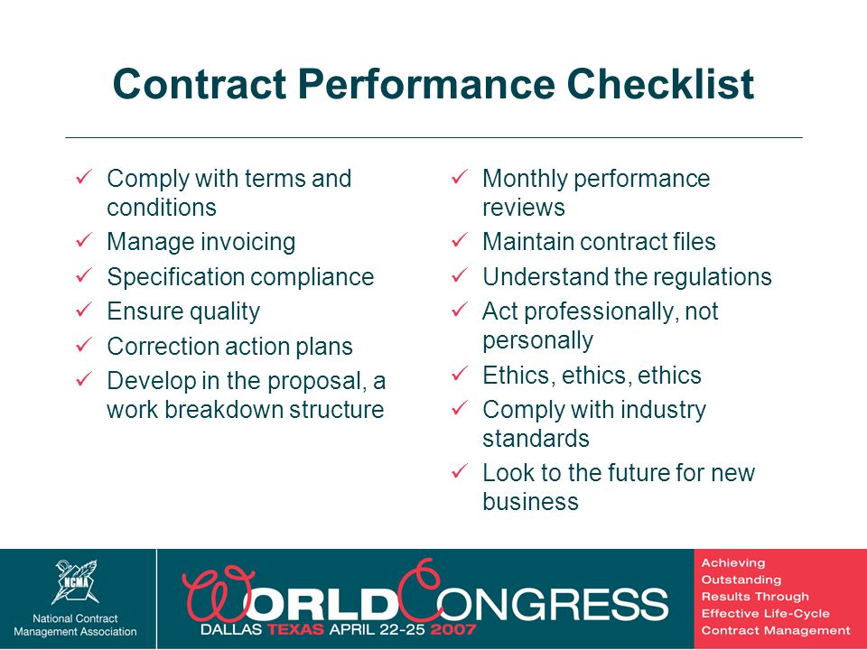 Contract Performance Checklist