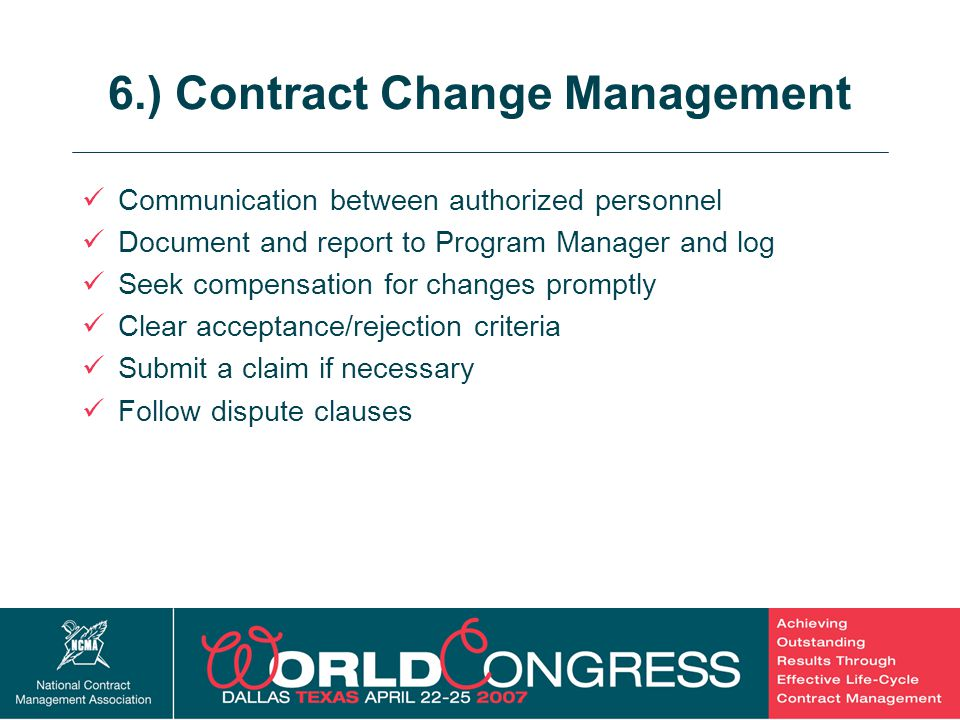 6.) Contract Change Management