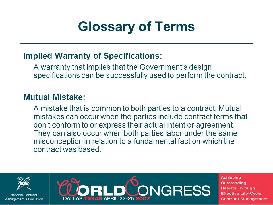 Glossary of Terms Implied Warranty of Specifications: