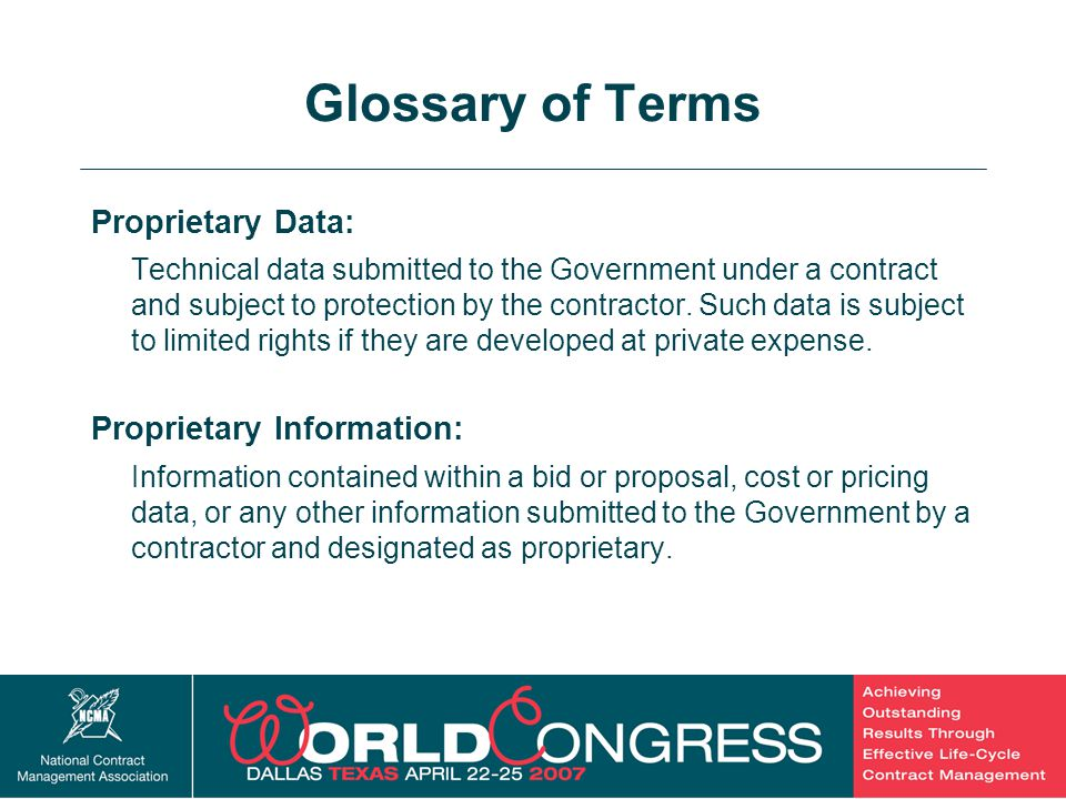 Glossary of Terms Proprietary Data: