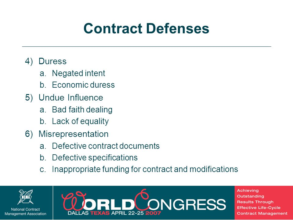 Contract Defenses Duress Undue Influence Misrepresentation