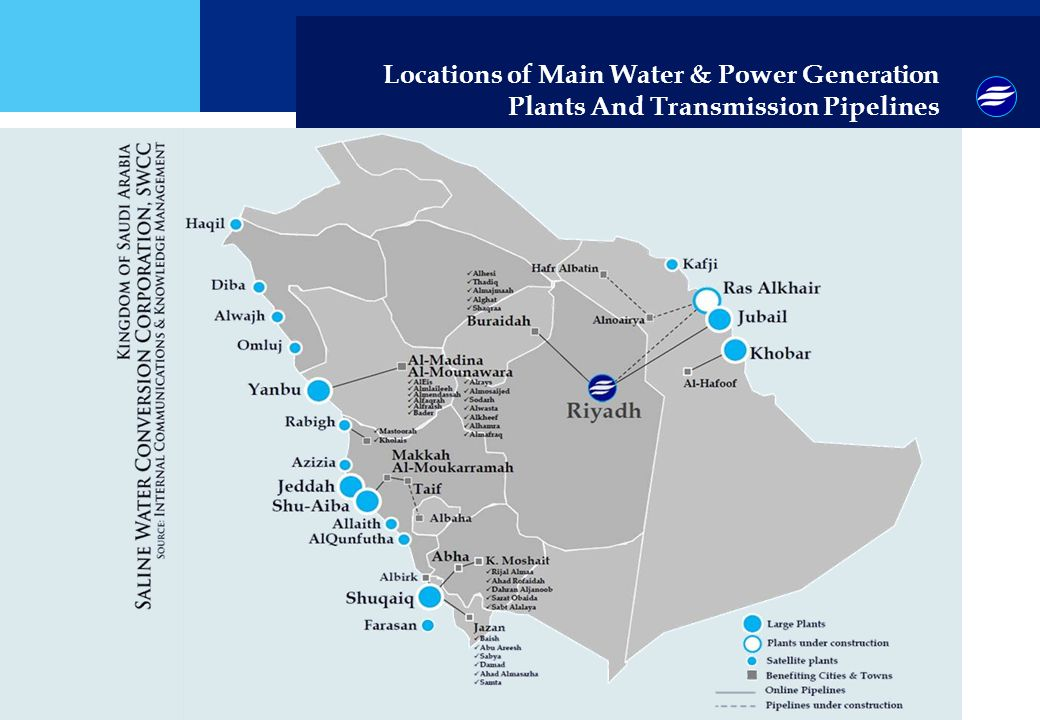 Locations of Main Water & Power Generation Plants And Transmission Pipelines