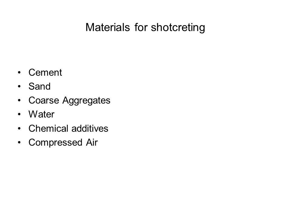 Materials for shotcreting