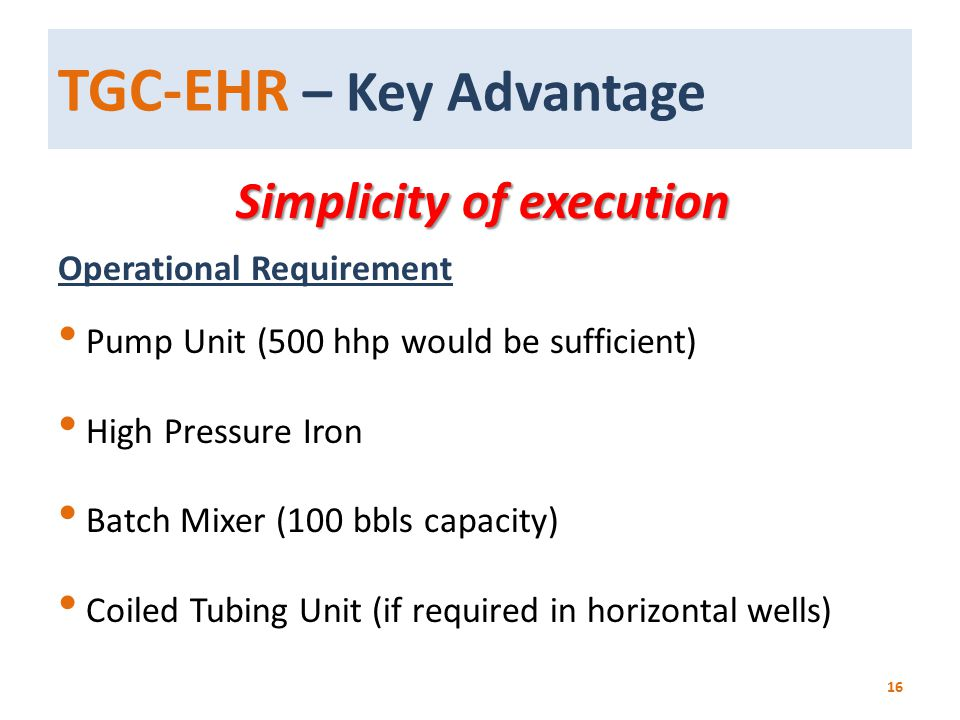 TGC-EHR – Key Advantage