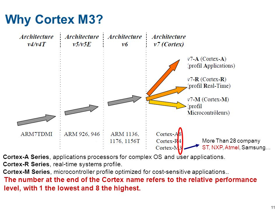 Why Cortex M3 More Than 28 company. ST, NXP, Atmel, Samsung… Cortex-A Series, applications processors for complex OS and user applications.