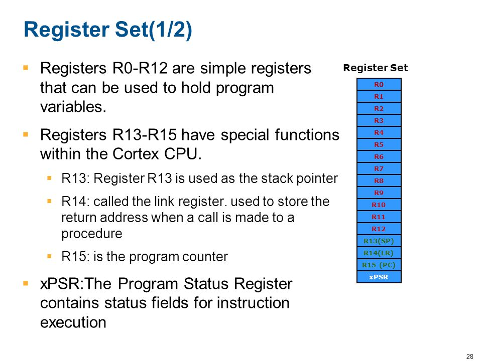 Register Set(1/2) Registers R0-R12 are simple registers that can be used to hold program variables.