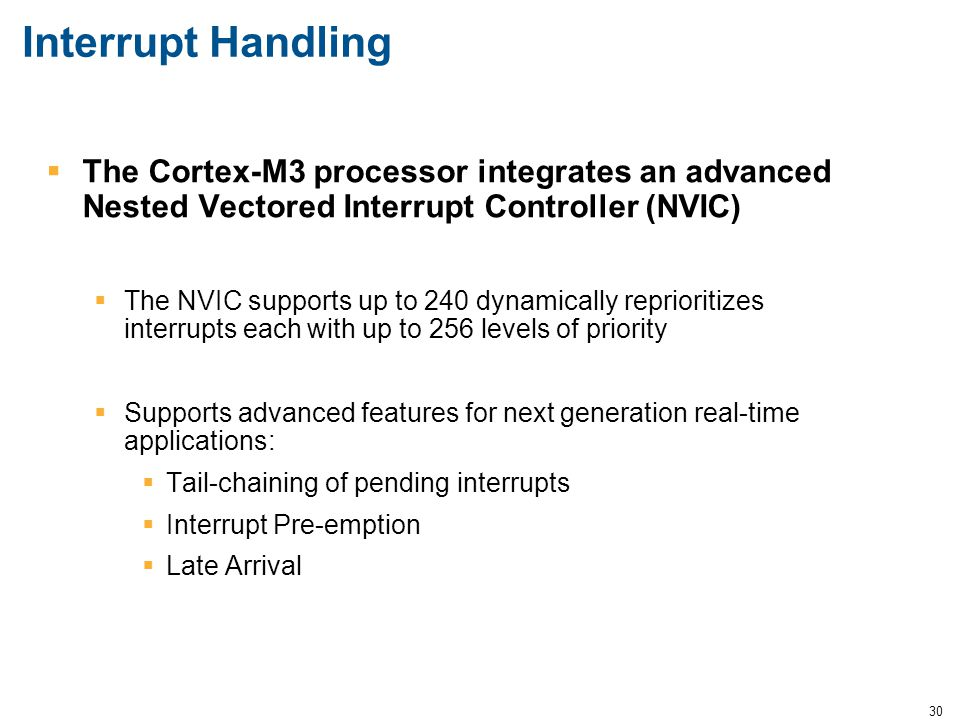 Interrupt Handling The Cortex-M3 processor integrates an advanced Nested Vectored Interrupt Controller (NVIC)