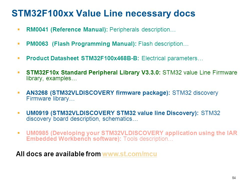 STM32F100xx Value Line necessary docs