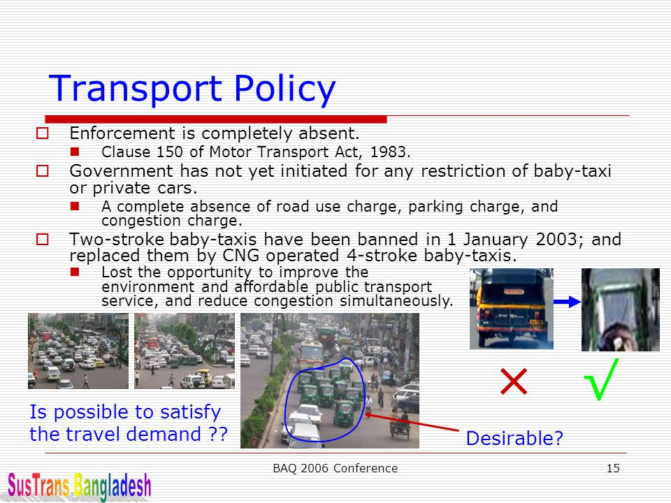 × √ Transport Policy SusTrans Bangladesh