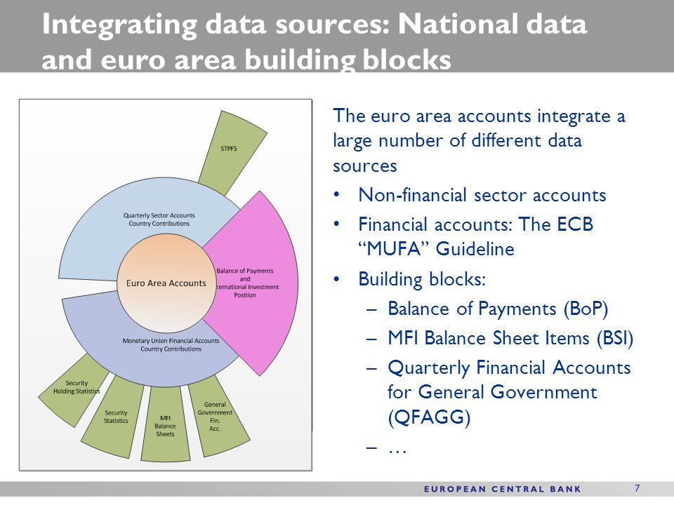 Integrating data sources: National data and euro area building blocks