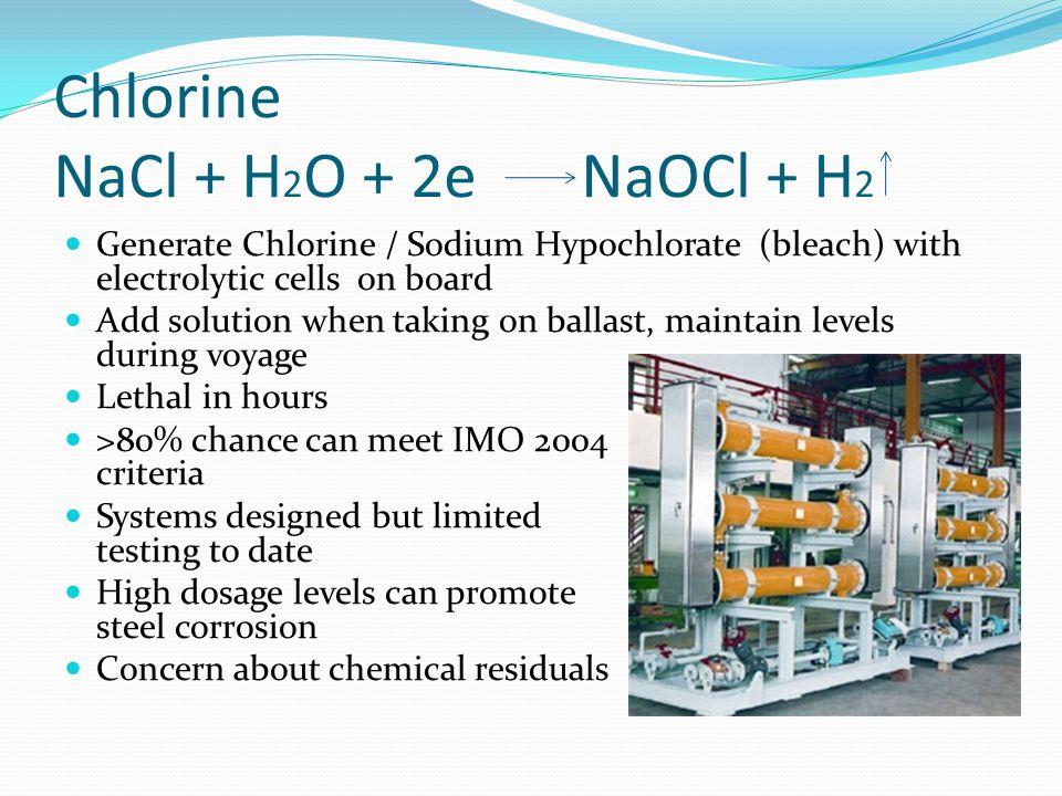 Chlorine NaCl + H2O + 2e NaOCl + H2