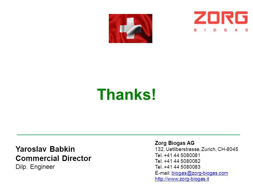 Thanks! Yaroslav Babkin Commercial Director Dilp. Engineer