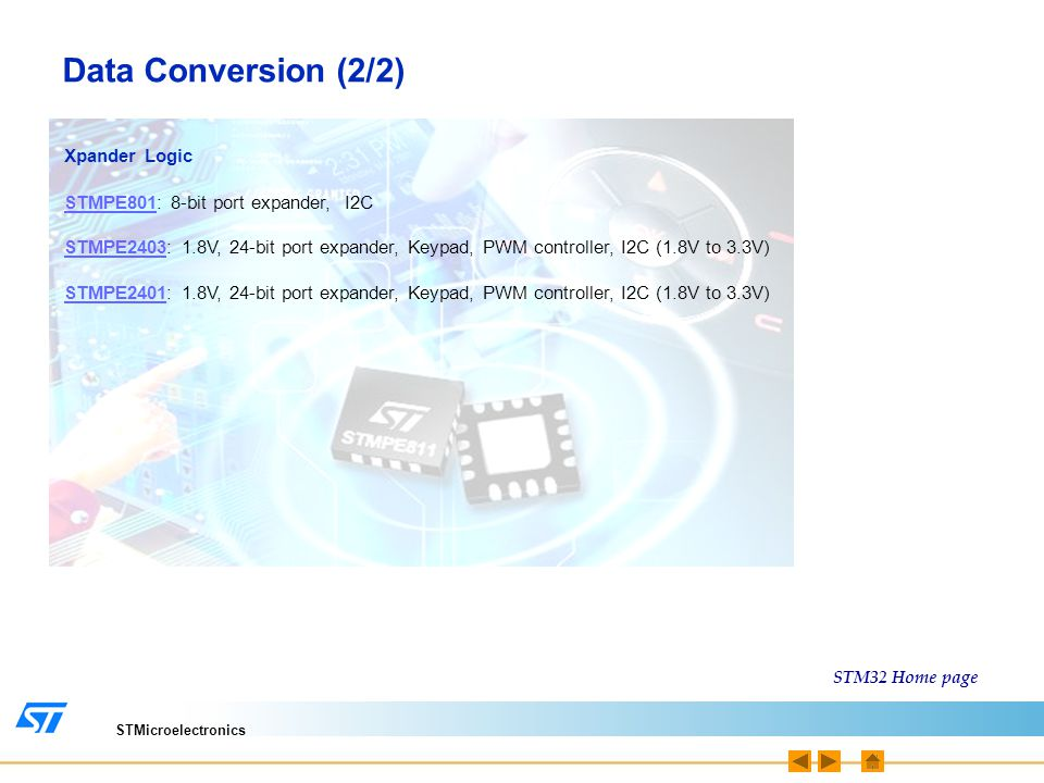 Data Conversion (2/2) Xpander Logic STMPE801: 8-bit port expander, I2C