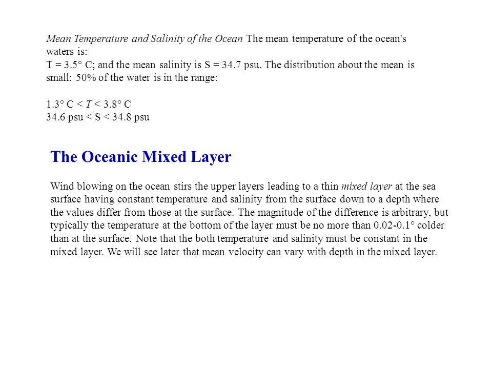 The Oceanic Mixed Layer
