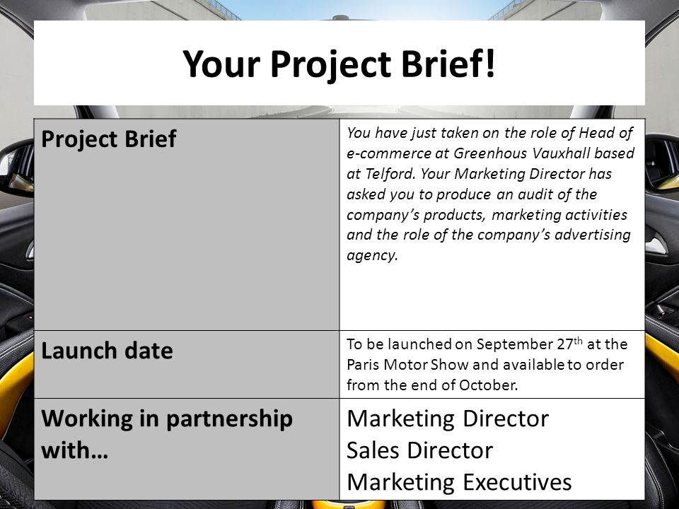 Your Project Brief! Project Brief Launch date