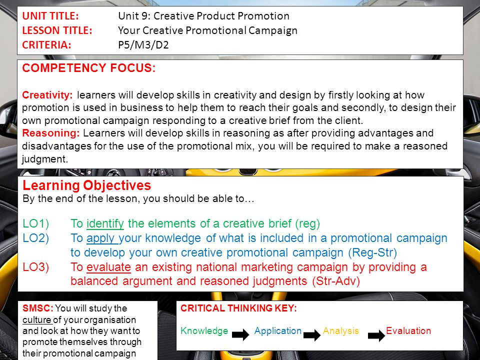 Learning Objectives UNIT TITLE: Unit 9: Creative Product Promotion