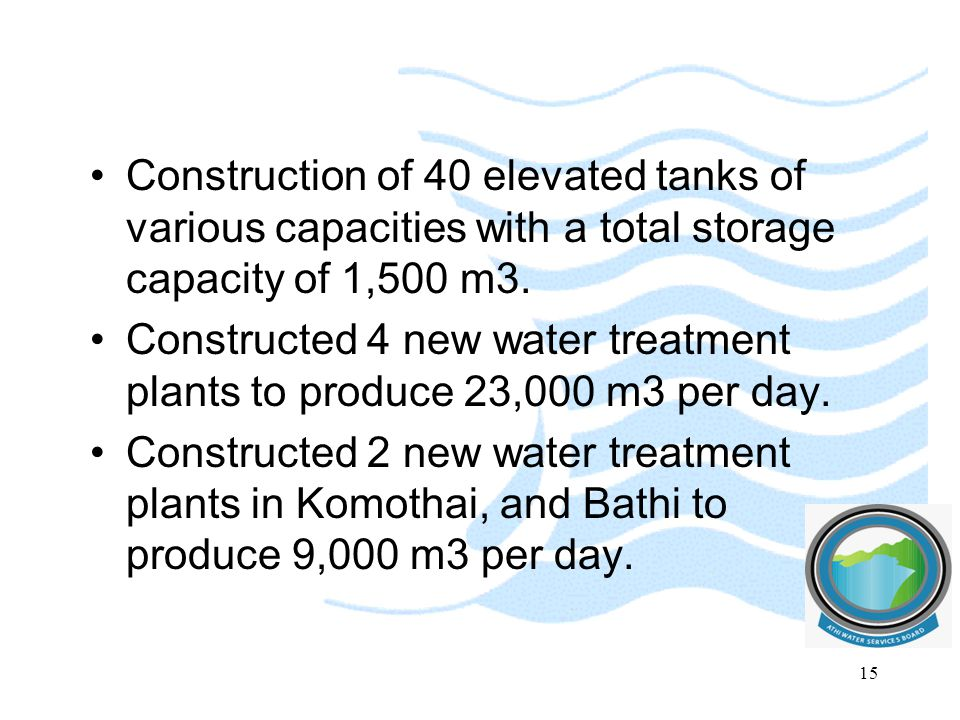 Construction of 40 elevated tanks of various capacities with a total storage capacity of 1,500 m3.