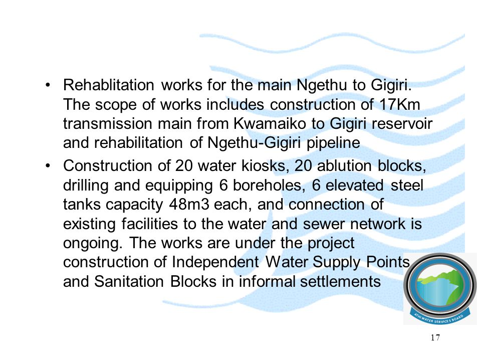 Rehablitation works for the main Ngethu to Gigiri