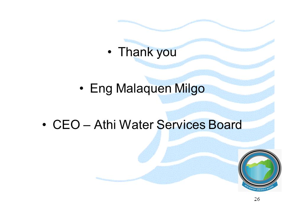 CEO – Athi Water Services Board