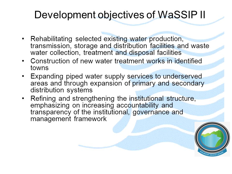 Development objectives of WaSSIP II