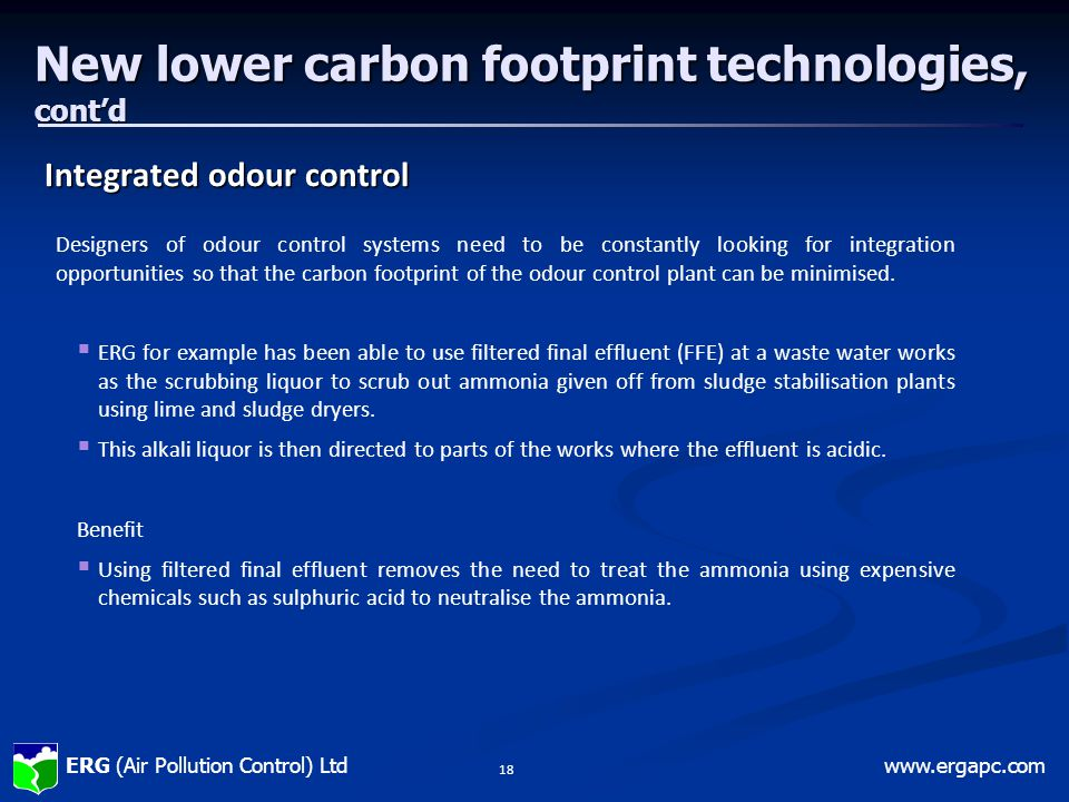 New lower carbon footprint technologies, cont'd