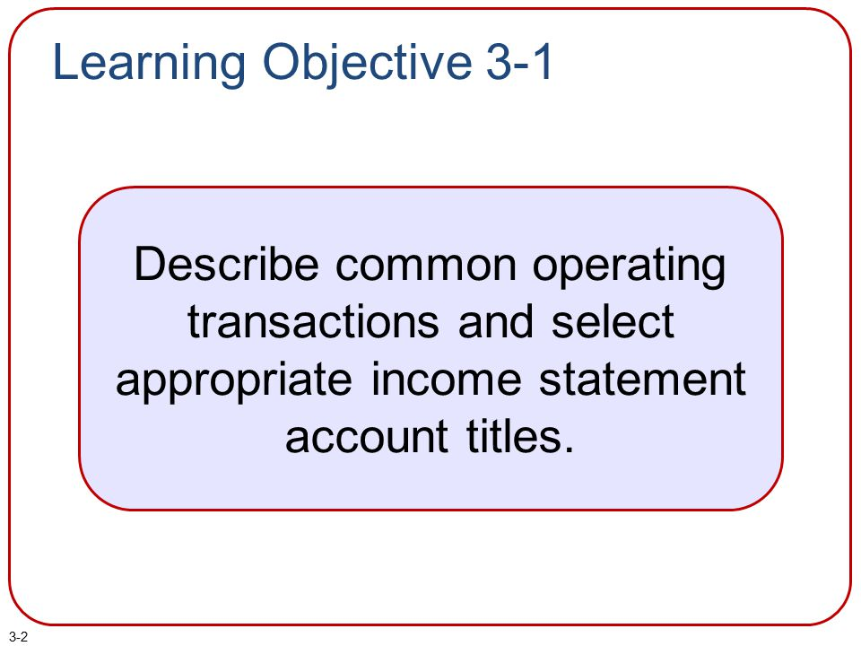 Learning Objective 3-1 Describe common operating transactions and select appropriate income statement account titles.