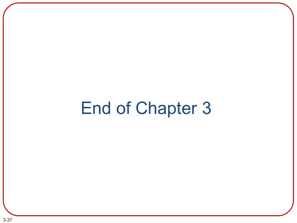 End of Chapter 3 End of chapter 3.