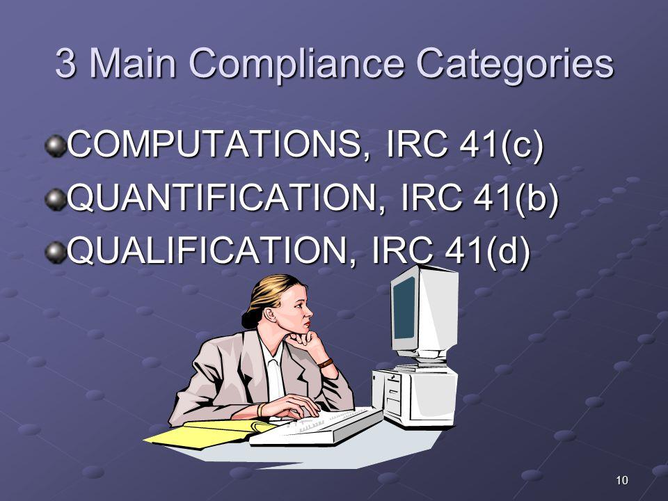 3 Main Compliance Categories