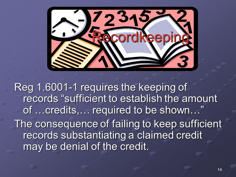 Recordkeeping Reg 1.6001-1 requires the keeping of records sufficient to establish the amount of …credits,… required to be shown…