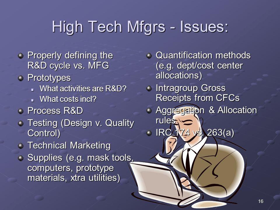 High Tech Mfgrs - Issues: