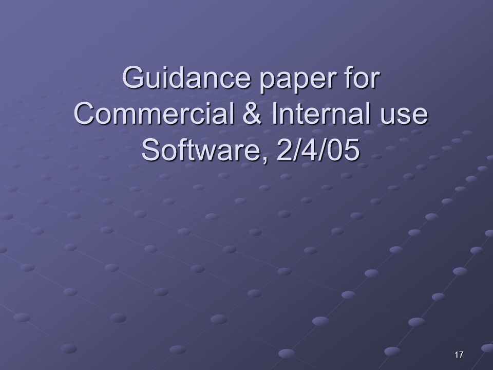 Guidance paper for Commercial & Internal use Software, 2/4/05