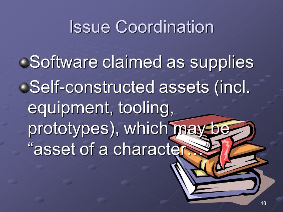 Issue Coordination Software claimed as supplies.