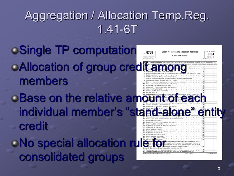 Aggregation / Allocation Temp.Reg. 1.41-6T