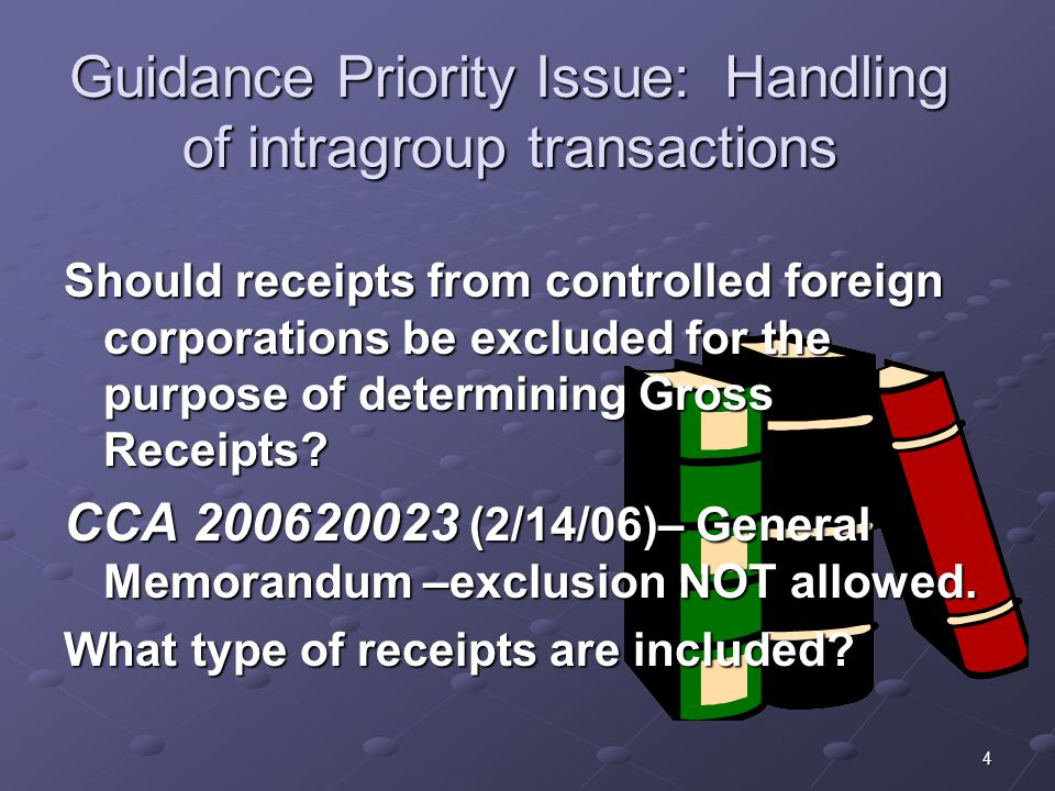 Guidance Priority Issue: Handling of intragroup transactions