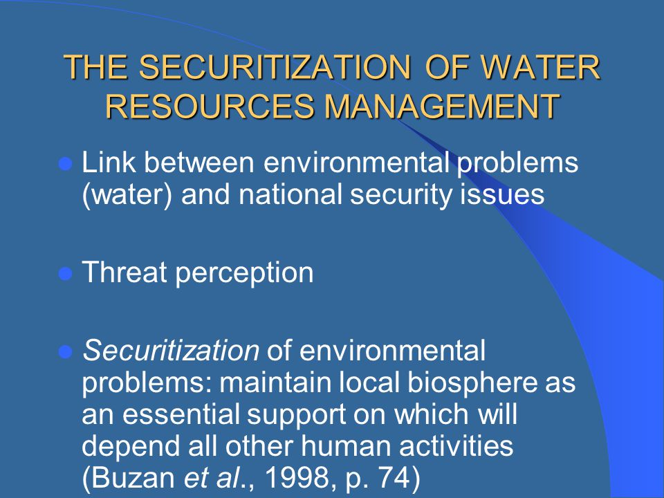 THE SECURITIZATION OF WATER RESOURCES MANAGEMENT