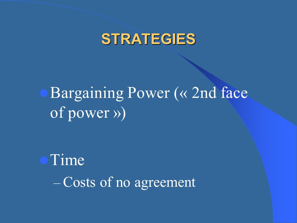 Bargaining Power (« 2nd face of power »)