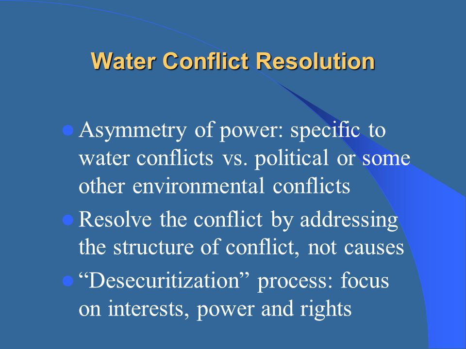 Water Conflict Resolution