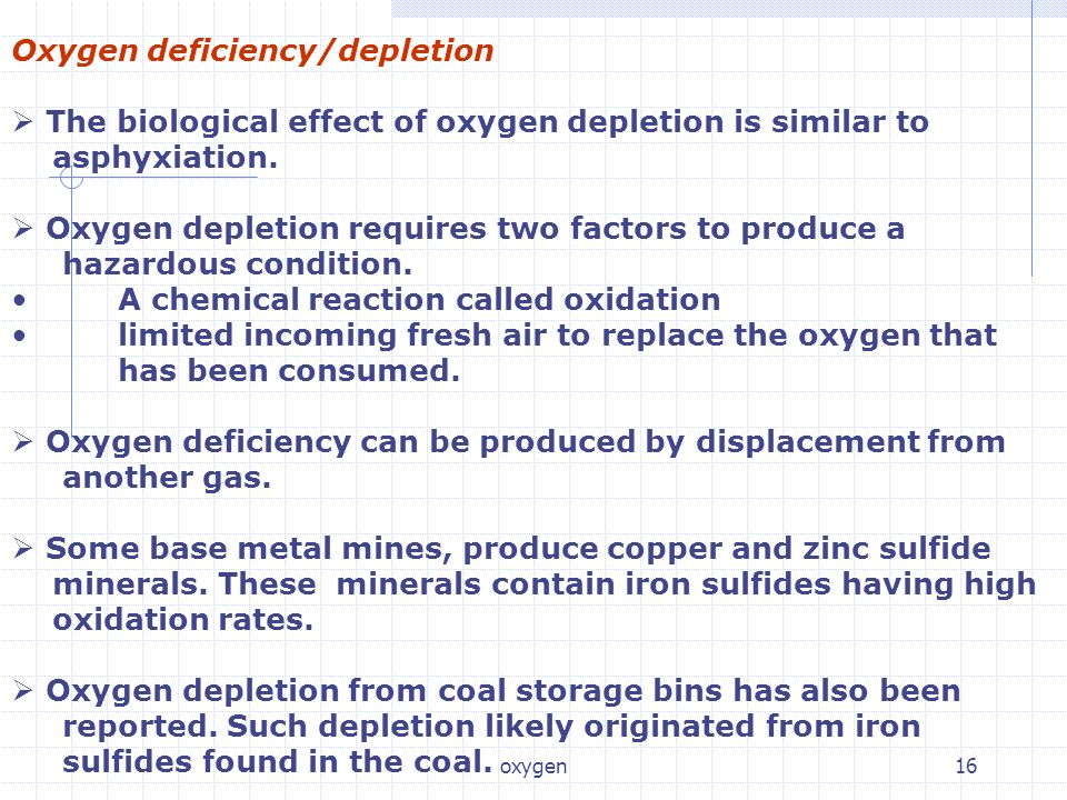 Oxygen deficiency/depletion