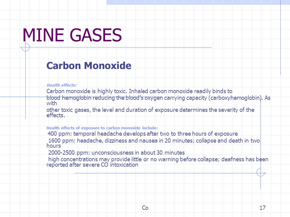 MINE GASES Carbon Monoxide