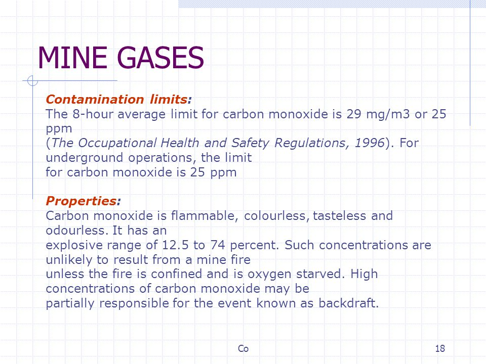 MINE GASES Contamination limits: