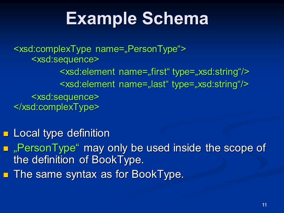 Example Schema Local type definition